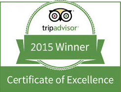 Trip Advisor 2015 Winner Certificate of Excellence
